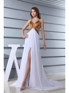 Empire White V-neck Beading Chiffon High Slit Brush Train Prom Dress