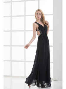High Slit Straps Black Ankel-length Beading and Ruching Prom Dress