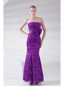 Mermaid Eggplant Purple Strapless Lace Sashes Ankle-length Prom Dress