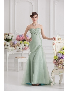Mermaid Lime Green Taffeta Long Prom Dress with Sweetheart