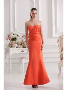 Mermaid Orange Red Sweetheart Floor-length Ruching Satin Prom Dress