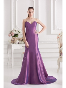 Mermaid Sweetheart Court Train Ruching Purple Prom Dress