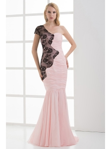 Mermaid Sweetheart Ruching Chiffon Lace Light Pink Prom Dress