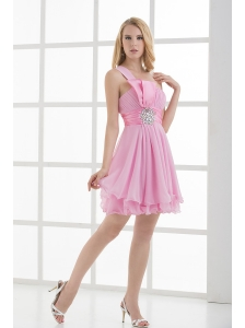 One Shoulder A-line Beading and Ruching Chiffon Prom Dress