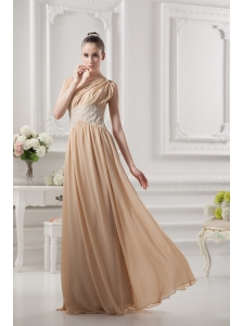 One Shoulder Ruching and Appliques Chiffon Prom Dress