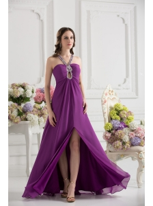 Purple Empire Halter Top Beading Ruching Chiffon Prom Dress