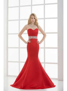 Red Mermaid Sweetheart Sleeveless Beading and Ruching Prom Dress