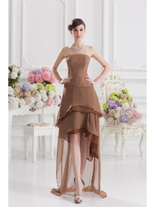 Saddle Brown A-line Strapless Chiffon High-low Prom Dress with Beading