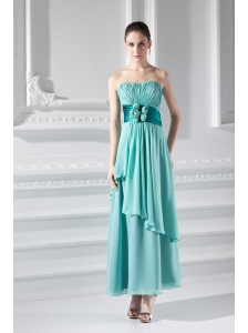 Strapless Ankel-length Empire Turquoise Hand-made Flower Prom Dress