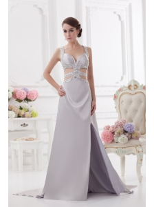 Straps High Slit Criss Cross Watteau Train Prom Dress in Light Grey