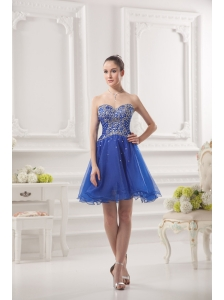 Sweetheart A-line Royal Blue Organza Prom Dress with Beading