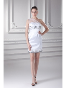 White One Shoulder Taffita Mini-length Prom Dress with Appliques and Ruching