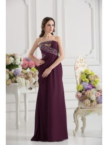Dark Purple Column Strapless Floor-length Ruching Beading Prom Dress
