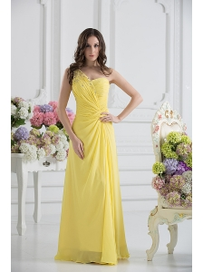 Empire One Shoulder Yellow Chiffon with Beading and Ruching Prom Dress