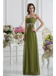 Empire Strapless Chiffon Beading Ruching Olive Green Prom Dress
