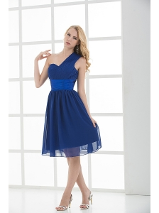 Empire One Shoulder Sleeveless Knee-length  Blue Prom Dress