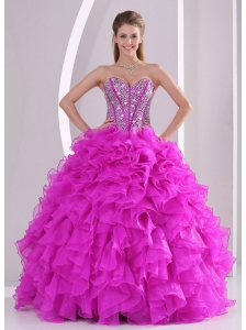 Unique Ruffles and Beading Sweetheart Floor-length 15 Quinceanera Gowns for 2014 summer