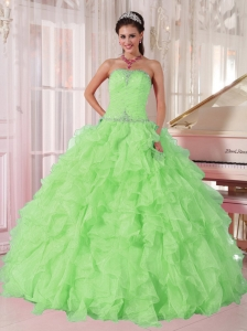 2014 New Spring Green Strapless Ruffles and Beading 15 Quinceanera Dresses for Girl