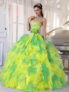 Appliques and Ruffles Floor-length 15 Quinceanera Dresses for 2014 Spring