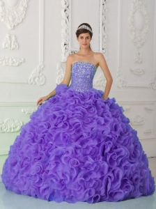 Ball Gown Strapless Organza Purple 15 Quinceanera Dresses with Beading and Ruffles