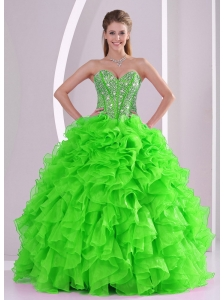 Ball Gown Sweetheart Popular 2013 Quinceanera Dresses with Beading and Ruffles