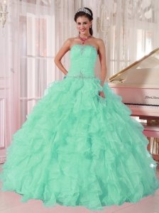 Discount Aqua Blue Ball Gown Strapless Ruching Organza Beading Pretty Quinceanera Dresses