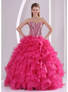 Hot Pink Ball Gown Sweetheart Ruffles and Beading Long Organza Quinceanera  Dresses 2014 1aac6c999e1d