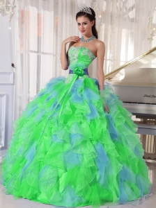 Multi-color Sweetheart Appliques Puffy Quinceanera Dresses with Green Flower
