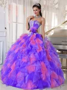 Multi-color Sweetheart Organza Appliques Decorate Puffy Quinceanera Dresses