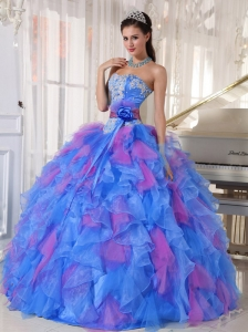 Organza Sweetheart Appliques Pretty Quinceanera Dresses with Flower on Sash