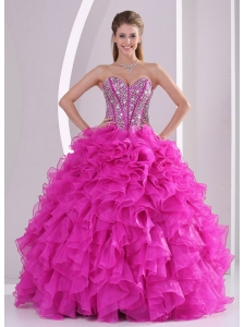 e49b77ab35c Pretty Sweetheart Ruffles and Beaded Decorate 2014 Hot Pink Quinceanera  Dresses 2014  US  183.1120