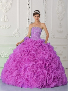 Strapless Fuchsia 15 Quinceanera Dresses with Ruffles and Beading