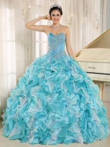 Beaded Ruffles Custom Made For 2013 Aqua Blue Quinceanera Dresses