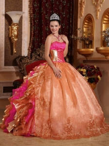 Discount Ball Gown Strapless Ruffles Organza 2013 Quinceanera Dresses with Embroidery