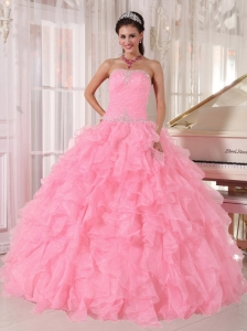 Baby Pink Ball Gown Strapless Floor-length Organza Beading Quinceanera Dresses 2014