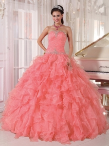Ball Gown Strapless Floor-length Organza Beading Cute Quinceanera Dresses with Watermelon Red
