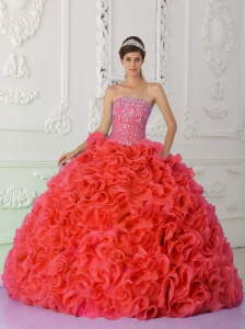 Ball Gown Strapless Red Quinceanera Dresses 2014 with Beading and Ruffles