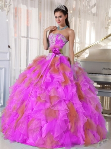 Ball Gown Sweetheart Organza Long Discount Quinceanera Dresses witih Appliques