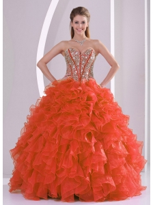 Ball Gown Sweetheart Ruffles and Beaded Decorate Coral Red Sweet 16 Dresses