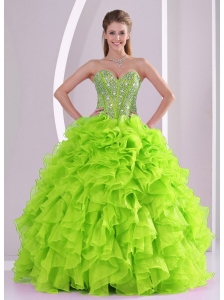 Best Seller Spring Green Sweetheart Ruffles and Beading Cute Quinceanera Dresses