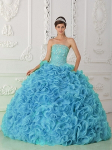 Organza Ball Gown Strapless Beading Blue Cute Quinceanera Dresses with Ruffles