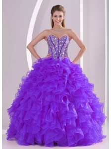 Purple Ball Gown Sweetheart Ruffles and Beading Lace Up Discount Quinceanera Dresses