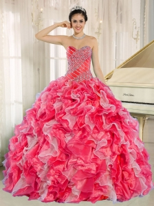 Red and White Quinceanera Dresses 2014 with Beadeing and Ruffles for Custom Made