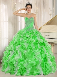 Spring Green Beaded and Ruffles Custom Made For Quinceanera Dresses 2014