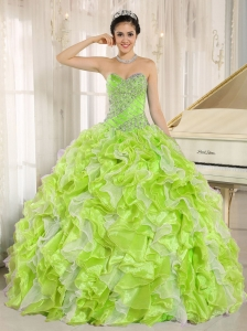 Beaded and Ruffles Custom Made For Yellow Green Sweet 16 Dresses