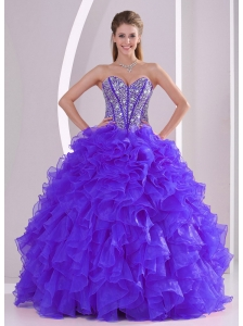 Discount Ball Gown Sweetheart Ruffles and Beaing Floor-length Popular Quinceanera Dresses in Purple