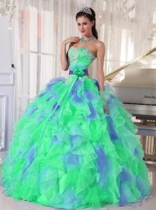 Green and Blue Sweetehart Ruffles and Appliques Popular Quinceanera Dresses