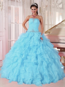 Light Blue Ball Gown Strapless Ruffles Organza Beading Popular Quinceanera Dresses