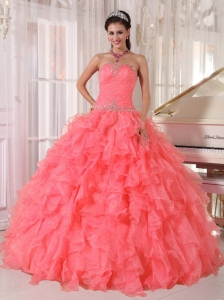 Popular Strapless Watermelon Red Ruffles Beading Unique Quinceanera Dresses for 2014