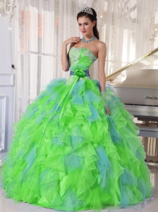 Spring Green and Blue Organza Appliques and Ruffles Unique Quinceanera Dresses